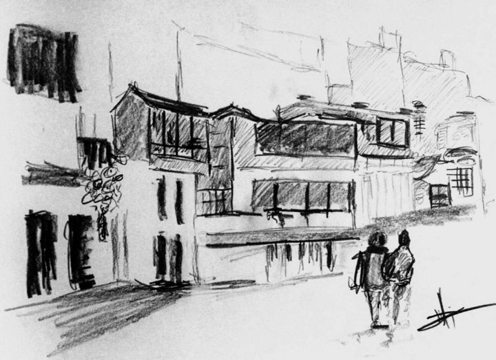 Street Sketch Drawing by Michael Dellinger | Artmajeur