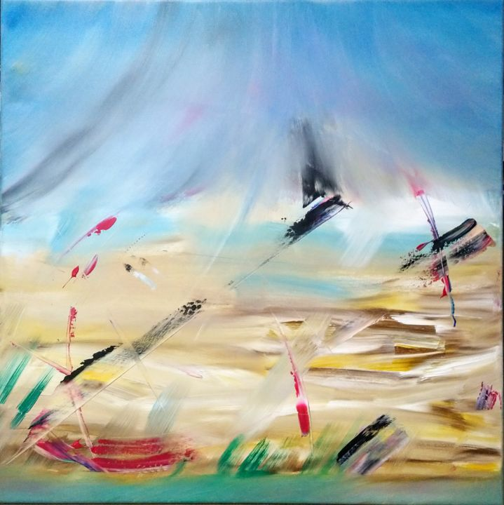 """Painting titled """"Fly Away"""" by Michael Denart, Original Art, Acrylic Mounted on Stretcher frame"""