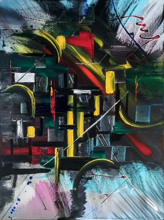 """Painting titled """"Shapes"""" by Michael Denart, Original Art, Acrylic Mounted on Stretcher frame"""