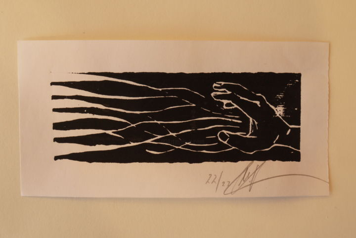 """Printmaking titled """"Die Hand"""" by Michael Gläßer, Original Art, Xylography"""