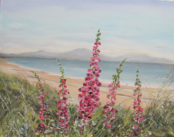 """Painting titled """"foxgloves-at-ballyh…"""" by Michael Monaghan, Original Art, Oil"""