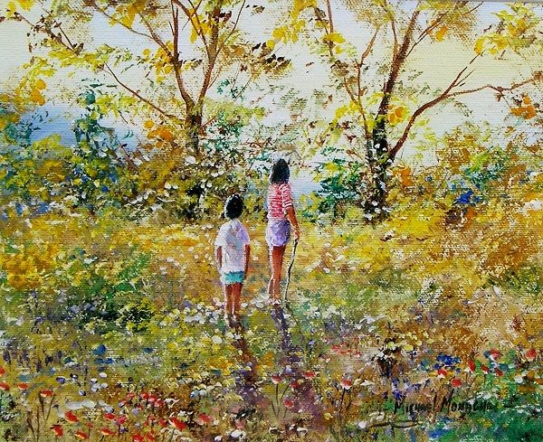 """Painting titled """"Its a beautiful day"""" by Michael Monaghan, Original Art, Oil Mounted on Stretcher frame"""