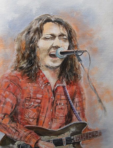 """Painting titled """"Rory Gallagher"""" by Michael Monaghan, Original Art, Oil"""