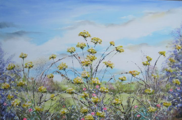 """Painting titled """"Sowthistle Meadow-3…"""" by Michael Monaghan, Original Art, Acrylic"""