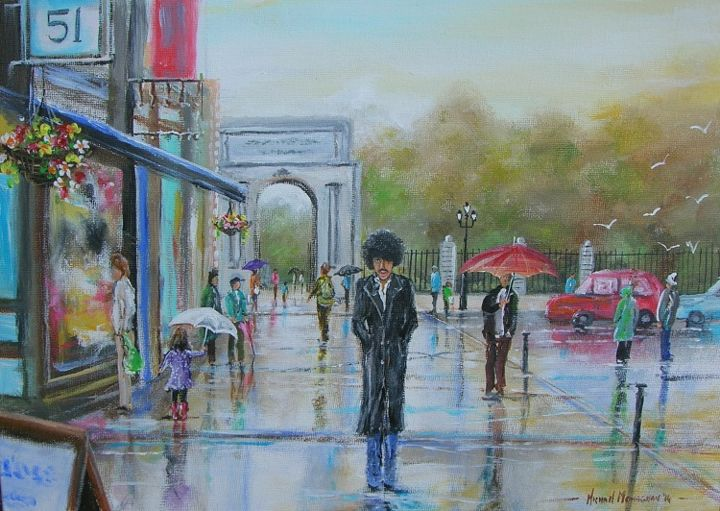 """Painting titled """"phil-lynott-back-in…"""" by Michael Monaghan, Original Art, Acrylic"""