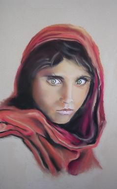 Jeune afghane - Painting,  19.7x15.8 in, ©2006 by Michago -