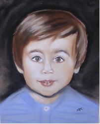 Jeune enfant - Painting,  15.8x11.8 in, ©2006 by Michago -