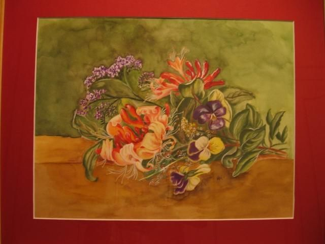 Bouquet - Painting,  15.8x19.7 in, ©2006 by Michago -