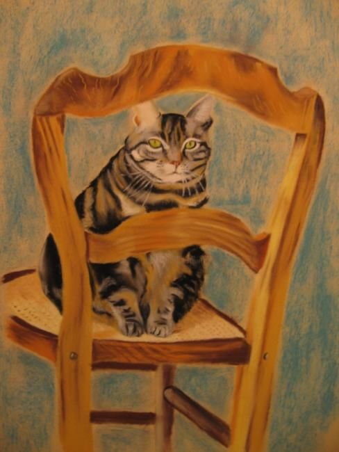 Chat tigré - Painting,  19.7x15.8 in, ©2006 by Michago -