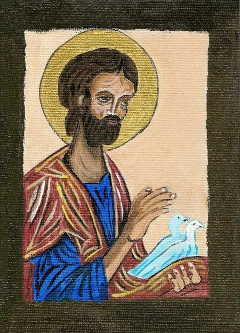 St Joseph aux colombes - Painting,  7.1x5.1 in, ©2006 by Michago -
