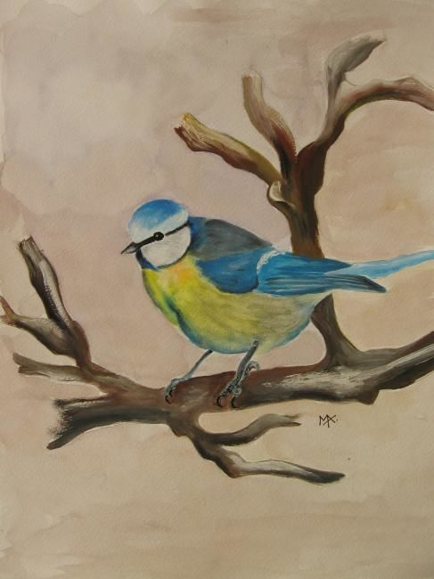 Mésange bleue n°2 - Painting,  15.8x11.8 in, ©2007 by Michago -