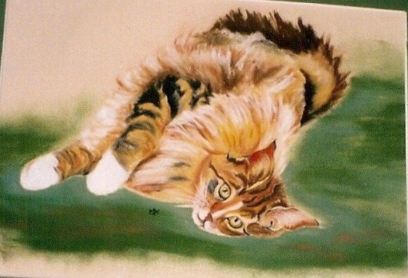 Chat couché - Painting, ©2009 by Michago -