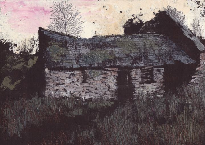 Ejectment I; This Perpetual State of Wretchedness - Painting,  42x47 cm ©2017 by Micheal O Muirthile -                                                        Canvas, Architecture, Landscape, Killarney, landscape, deserted village, hidden village, 1800s, eviction, michealomuirthile