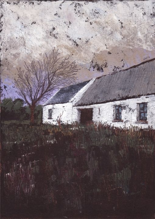 Ejectment II; A Ghastly Silence Ensues... - Painting,  47x42 cm ©2017 by Micheal O Muirthile -                                                                                Canvas, History, Home, Landscape, Rural life, Hidden Village, Famine Village, Ireland, Eviction, Ejectment, Cork & Kerry, Antrim