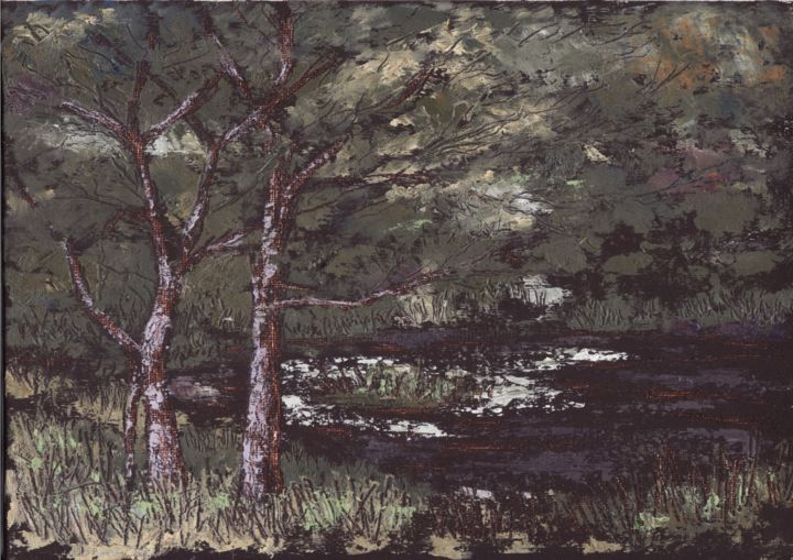 """Painting titled """"Black Valley River"""" by Micheal O Muirthile, Original Art, Oil Mounted on Cardboard"""