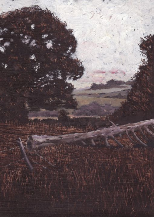 Donal's Field - Painting,  25.5x20 cm ©2013 by Micheal O Muirthile -                                            Paper, Landscape, http://www.michealomuirthile.com, Landscape, Ireland, West Cork, Oil, Lissarda, Micheal O'Muirthile, Micheal-O-Muirthile, Micheal O Muirthile, Michae, macroom, fields, Trees, Tranquility, Peaceful
