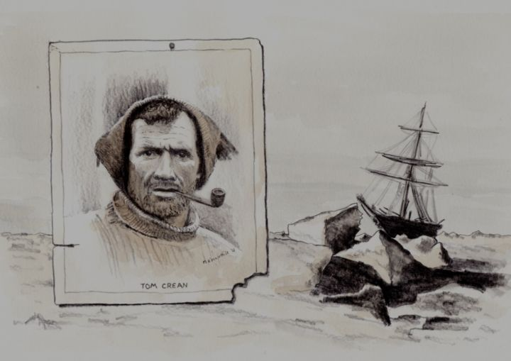 Tom Crean - © 2012 http://www.michealomuirthile.com, Portrait, Ireland, West Cork, Oil, Pencil, Ink, Watercolour, Lissarda, Micheal O'Muirthile, Explorer, Annascaul, Kerry, South Pole, Macroom, O'Muirthile Online Artworks