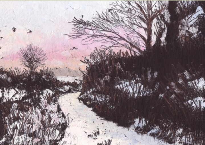 The Bend of the Road - © 2014 http://www.michealomuirthile.c, landscape, west cork, oil, country lane, snow, lissarda, macroom, michealomuirthile, micheal o'muirthile, micheal-o-muirthile, beautiful lee valley cork, Art, Painting, Purcell Gallery Kenmare Online Artworks