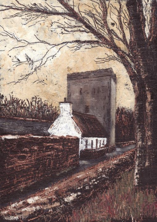 Thoor Ballylee - ©  President of Ireland, Gearoid Cheaist O'Cathain, Thoor Ballylee, Micheal OMuirthile, Landscape, Poet, Co Galway, Blasket Islands, William Butler Yeats, WB Yeats, Macroom, lee valley art, Art, Painting Online Artworks