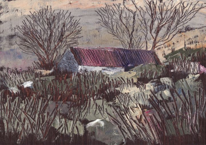 Near Sheila's House in the Black Valley - Painting,  23x23 cm ©2015 by Micheal O Muirthile -                                                            Impressionism, Paper, Landscape, Black valley;, landscape, gap of dunloe, kerry, macroom, micheal o muirthile, ruin