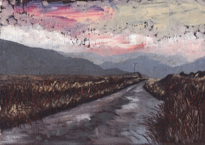 Grand Evening in the Black Valley - Painting,  23x23 cm ©2015 by Micheal O Muirthile -                                            Paper, Landscape, Black Valley, Landscape, Micheal O'Muirthile, Lissardagh, Macroom, Oil Painting, Sunset