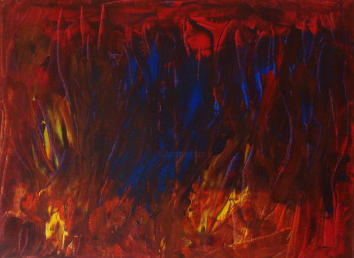Un monde en feu - Painting,  23.6x31.9 in, ©2019 by Michel Aucoin -                                                                                                                                                                          Abstract, abstract-570, Abstract Art