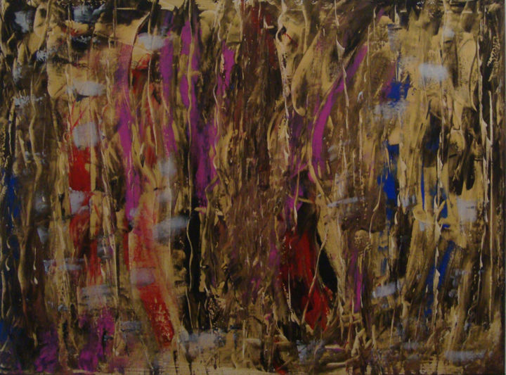 Vision ésotérique - Painting,  23.6x31.5 in, ©2020 by Michel Aucoin -                                                                                                                          Abstract, abstract-570