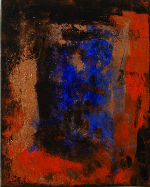 Vision d'un soir - Painting,  41x33 cm ©2012 by Michel AUCOIN -                                                        Abstract Art, Canvas, Abstract Art