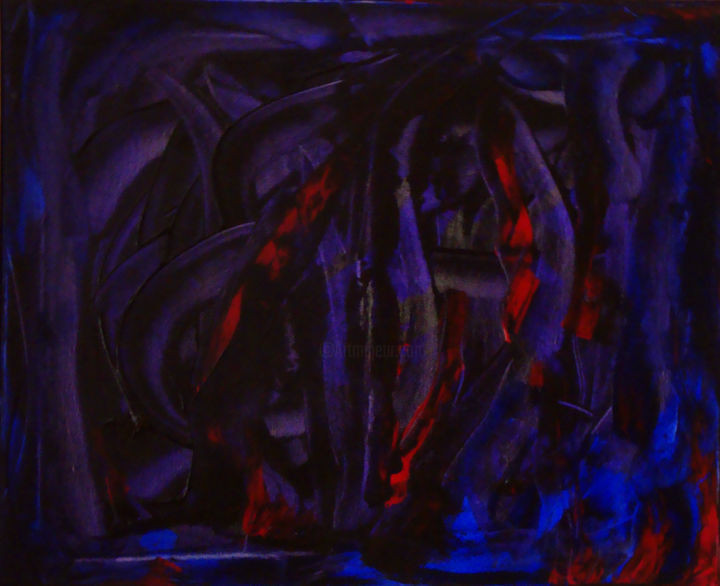 Intimité - Painting,  50x61 cm ©2008 by Michel AUCOIN -                                                        Abstract Art, Canvas, Abstract Art