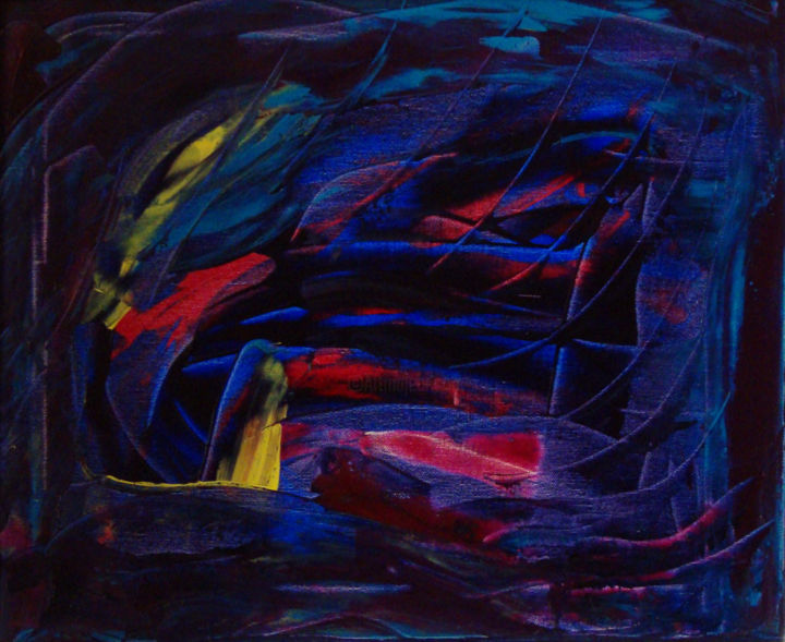 Oiseau de nuit - Painting,  38x46 cm ©2008 by Michel AUCOIN -                                                        Abstract Art, Canvas, Abstract Art