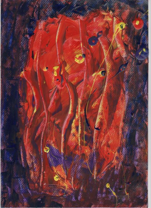 Feu de la vie - Painting,  11.8x8.3 in, ©2008 by Michel Aucoin -                                                                                                                                                                          Abstract, abstract-570, Abstract Art
