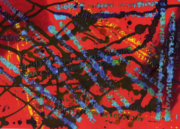 Marche vers la connaissance 1 - Painting,  21x30 cm ©2009 by Michel AUCOIN -                                                        Abstract Art, Paper, Abstract Art