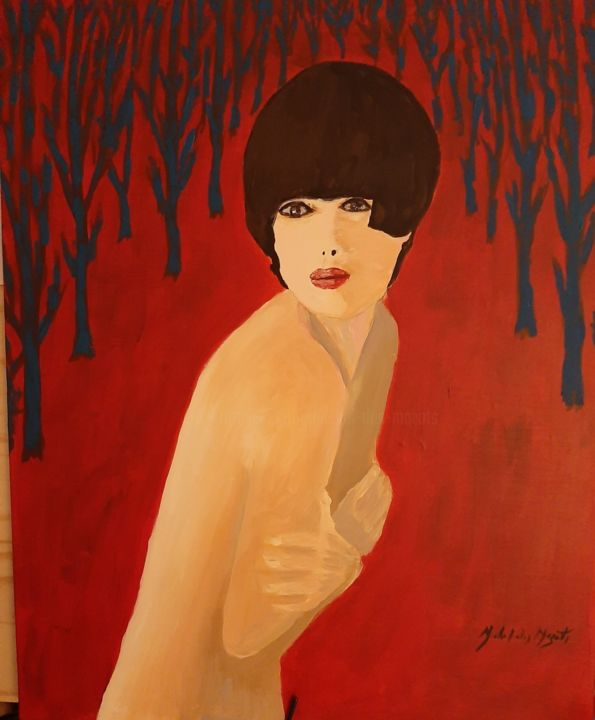 Nue en foret - Painting,  25.6x19.7x1.2 in, ©2019 by Michel des Mazots -                                                                                                                                                                                                                                                                                                                                                                                                                                                      Figurative, figurative-594, Women, Nature, Nude, femme, nue, foret, rouge