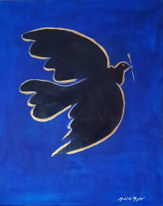 """Painting titled """"blue bird"""" by Michel Des Mazots, Original Art, Acrylic Mounted on Stretcher frame"""