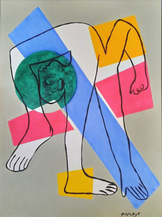 """Painting titled """"Acrobate2"""" by Michel Des Mazots, Original Art, Acrylic Mounted on Stretcher frame"""