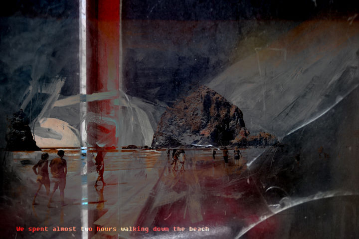 We spent almost two hours walking down the beach - Digital Arts,  31.5x47.2 in, ©2019 by Michel TABANOU -                                                                                                                                                                                                                                                                                                                                                                                                                                                                                                                                              Expressionism, expressionism-591, Colors, Light, Nature, Seascape, Travel, Cannon Beach, Oregon, walking, plage