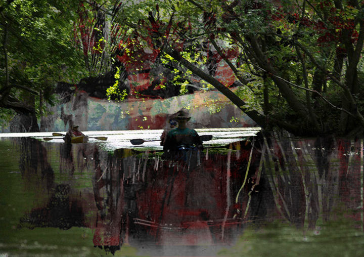 canoe trip down the Boise river - Digital Arts,  33.5x47.2 in, ©2019 by Michel TABANOU -                                                                                                                                                                                                                                                                                                                                                                                                                                                                                                                          Tree, Water, Nature, Landscape, Travel, Boise River, Idaho, canoe, landscape, ballade, trip
