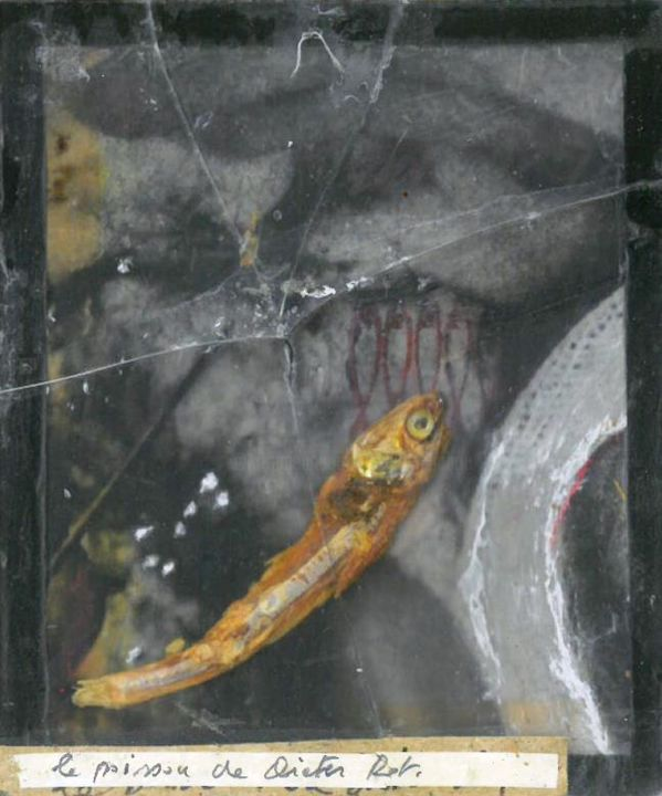 le poisson de Dieter ROTH - Painting,  3.9x3.4x0.1 in ©1997 by Michel TABANOU -                                                                                Conceptual Art, Dada, Documentary, Culture, Celebrity, Dieter ROTH, poisson, fish