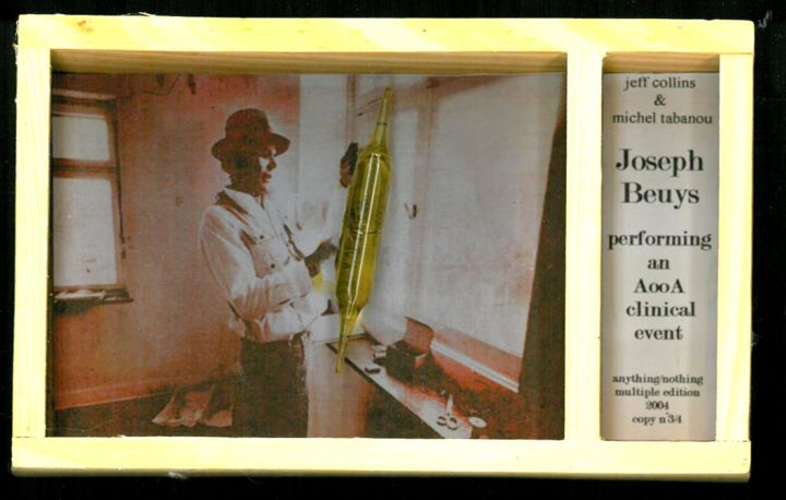 Joseph Beuys performing an A.O.O.A clinical event - Collages,  3.9x6.3x1 in, ©2004 by Michel Tabanou -                                                                                                                                                                                                                                                                                                                                                                                                                                                                                                                                              Conceptual Art, conceptual-art-579, Culture, Celebrity, Joseph BEUYS, Art out of Art, objet, multiple, event, clinical event, fluxus