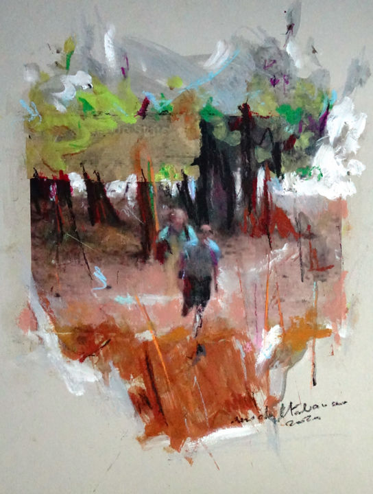 after three months of confinement it is the big day... - Painting,  25.6x19.7x0.1 in, ©2020 by Michel Tabanou -                                                                                                                                                                                                                                                                                                                                                                                                                                                                                                                                                                                                                                      Expressionism, expressionism-591, Tree, Culture, Pop Culture / celebrity, Nature, François Pinault, art, business as art, culture, contestation, freedom, manifest