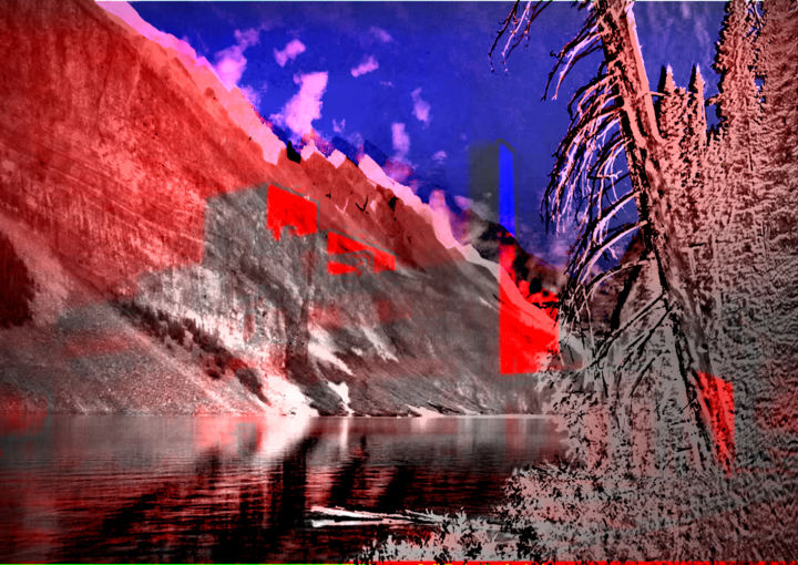 roadtrip in Alberta, 2018 - Digital Arts, ©2020 by Michel Tabanou -                                                                                                                                                                                                                                                                                                                                                                                                                                                                                                                                                                                                                                                                                                                                                                                                                                                                  Expressionism, expressionism-591, Colors, Water, Light, Nature, Mountainscape, Alberta, Canada, roadtrip, faire la route, on the road, nature, landscape, paysage, landart, travel, voyage