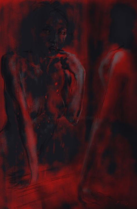 nude in red 0019-black-01 - Digital Arts, ©2018 by By Daesyl arts -                                                                                                                                                                                                                                                                                                              Conceptual Art, conceptual-art-579, Body, Women, Light, Nude