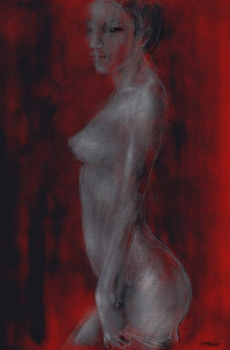 nude in red 0022-lolita-03 - Digital Arts, ©2018 by By Daesyl arts -                                                                                                                                                                                                                                                                                                              Conceptual Art, conceptual-art-579, Body, Women, Light, Nude