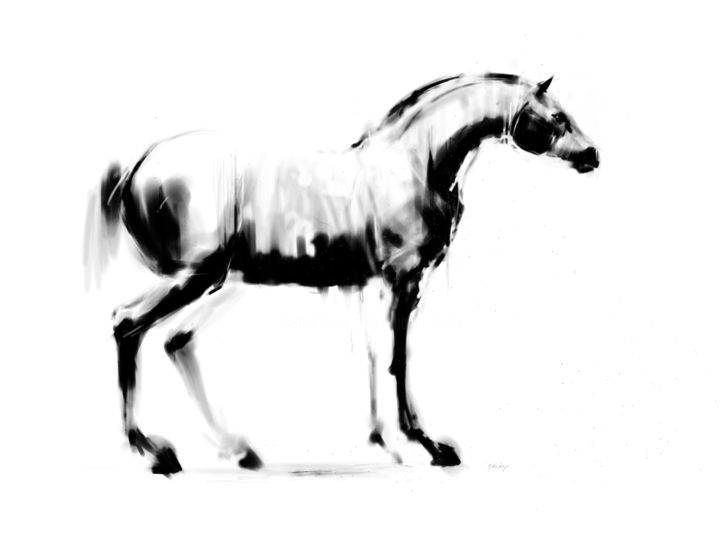 Horse 31 - Digital Arts, ©2020 by Michel Thiery (By Daesyl arts) -                                                                                                                                                                                                                                                                                                                                                                                                                                                      Figurative, figurative-594, Animals, artwork_cat.Horses, Light, horse, horses, horse art, horse lover