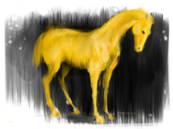 Yellow horse - Arts numériques, ©2020 par Michel Thiery (By Daesyl arts) -                                                                                                                                                                                                                                                                                                                                                                                                                                                                                                  Figurative, figurative-594, Animaux, artwork_cat.Horses, Lumière, horse, horseart, horselover, horseartist, yellowhorse