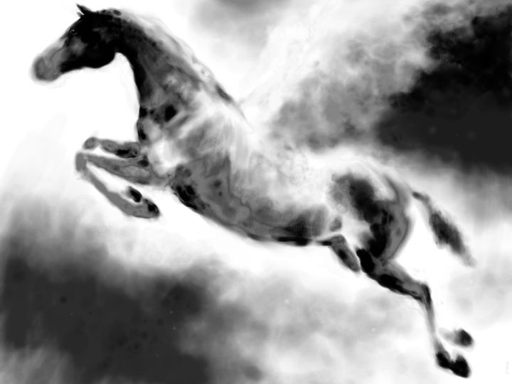 Horse 19 Pegasus - Digital Arts, ©2020 by Michel Thiery (By Daesyl arts) -                                                                                                                                                                                                                                                                                                                                                                                                                                                                                                                                                                                                                                                                                                                              Figurative, figurative-594, Animals, artwork_cat.Horses, Light, artwork_cat.Classical mythology, Black and White, Horse, horses, horseart, horse art, horse painter, horse artist, pegasus, pegase