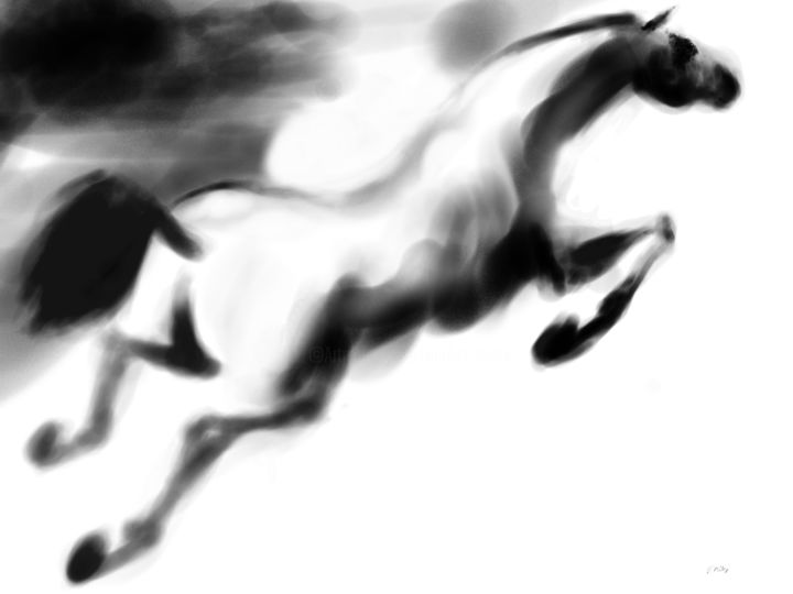 Horse 18 Pegasus - Digital Arts, ©2020 by Michel Thiery (By Daesyl arts) -                                                                                                                                                                                                                                                                                                                                                                                                                                                                                                                                                                                                                                                                                  Figurative, figurative-594, Animals, artwork_cat.Horses, Light, artwork_cat.Classical mythology, Black and White, Horse, horse art, horse artist, pegase, horse in the sky, horse painter, horse lover