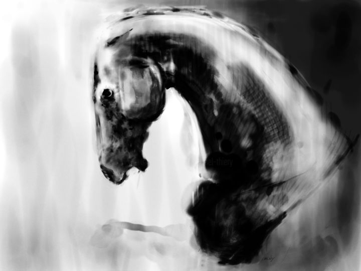 Horse 20 - Head - Digital Arts, ©2020 by Michel Thiery (By Daesyl arts) -                                                                                                                                                                                                                                                                                                                                                                                                                                                                                                                                                                                                                                      Figurative, figurative-594, Animals, artwork_cat.Horses, Light, artwork_cat.Classical mythology, Black and White, Horse, cheval, horse head, tête de cheval, horse art, horse artist