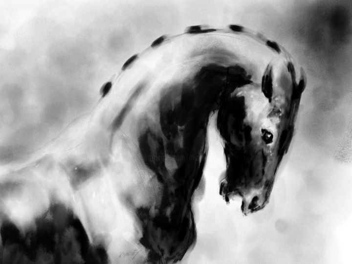 Horse 21 Head - Digital Arts, ©2020 by Michel Thiery (By Daesyl arts) -                                                                                                                                                                                                                                                                                                                                                                                                                                                                                                                                                                                          Figurative, figurative-594, Animals, artwork_cat.Horses, Light, artwork_cat.Classical mythology, Black and White, Horse, horse head, mystique horse, horse art, horse artist