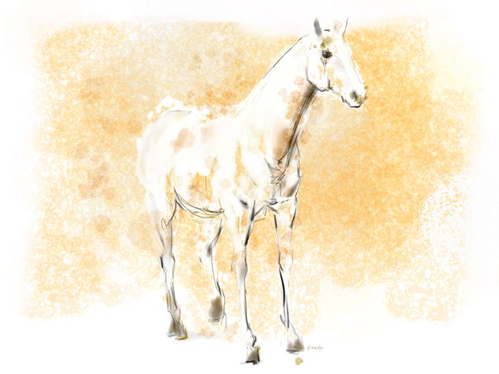 Horse 23 - Digital Arts, ©2020 by Michel Thiery (By Daesyl arts) -                                                                                                                                                                                                                                                                                                                                                                                                                                                                                                  Figurative, figurative-594, Animals, artwork_cat.Horses, Light, Nature, horse, horse art, horse artiste, horse lover